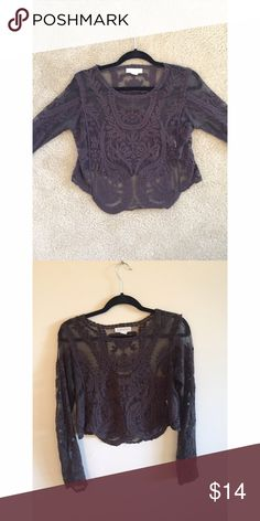 Forever 21 Lace See-Through Shirt Black long sleeved shirt, lace detail Forever 21 Tops Blouses