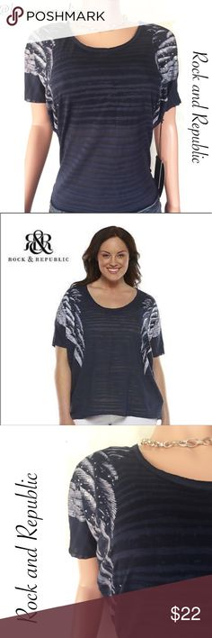 Rock and Republic wing T-shirt Rock and Republic wing T-shirt in Navy Blue and silver. •65% Polyester •35% Cotton.•Wash inside out. •Hand wash cold. •Only non chlorine bleach when needed. •Flat dry. •Cool ironic needed. •Do not iron decoration. •Feel free to make an offer using the offer feature- OR- bundle your likes and I will send you an offer with an exclusive discount!I **No trades, smoke free home. Thank you for stopping by my closet!! Rock & Republic Tops Blouses