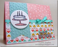 LeAnne Pugliese WeeInklings - SU - Big Day Match the Sketch Stampin Up - Birthday :)) Birthday Cake Card, Girl Birthday Cards, Bday Cards, Handmade Birthday Cards, Birthday Greetings, Kids Cards, Craft Cards, Stamping Up Cards, Card Sketches
