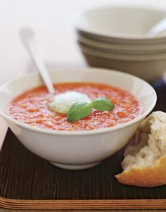 A splash of red-pepper sauce adds a little zing to this classic tomato gazpacho recipe. #healthy