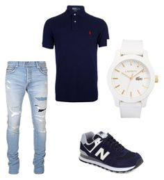 """Night Out Outfit"" by jazmine201933 on Polyvore featuring New Balance, Balmain, Ralph Lauren Blue Label, Lacoste, men's fashion and menswear"