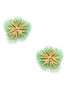 Carved Chrysoprase & Diamond Flower Earrings by Megan Odabash on Gilt.com