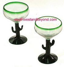 Mexican Bubble Glass - Mexican Glassware Pitcher Sets and Glasses . $20.00. Add life to your home and party with this beautiful hand blown bubble glass which is the perfect size for a traditional mexican margarita drink. It is clear glass with a green rim and matching green stem in the shape of a cactus. All glasses are sold in sets of two, the price shown is for two glasses. Due to the hand blown nature of our glassware please expect slight variations in size and shape.Height:...
