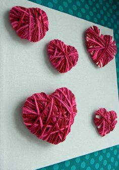 DIY Kids Crafts: yarn Hearts