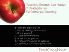 Teaching Smarter, Not Harder: 6 Strategies For Performance Teaching / TeachThought Too Cool For School, Middle School, Challenges To Do, Teacher Resources, Teaching Ideas, Continuing Education, Upper Elementary, Professional Development, Classroom Management