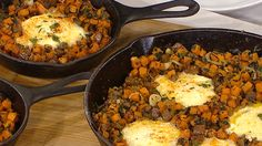 Brunch is served! Sausage and sweet potato hash with baked eggs