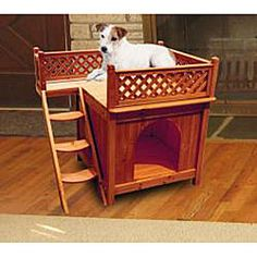 @Overstock - This comfortable Balcony View Dog House with its lattice fence and stained brown cedar color will sit nicely on the deck or balcony of your home. The steps along the side of the house lead to a roof top balcony where your pet can sun bathe and play.http://www.overstock.com/Pet-Supplies/Balcony-View-Dog-House/5300716/product.html?CID=214117 $94.48