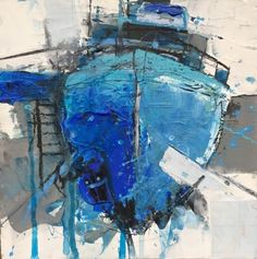 Pete Monaghan Blue Boat Mixed Media on Board x Abstract Landscape Painting, Landscape Art, Landscape Paintings, Boat Illustration, Sailboat Painting, Blue Boat, Ink In Water, Boat Art, Gravure