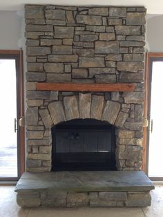 fireplace slate. New stone fireplace with hand hewn oak mantle and slate hearth proportions Custom wood tile inset