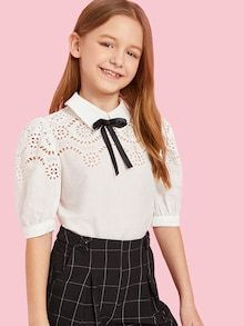 Shein kiddie white bow front cut out girls preppy blouse kids clothing 2019 summer puff sleeve contrast lace zipper cute tops Metallic Pleated Skirt, Kids Outfits, Cute Outfits, Eyelet Top, Girls Blouse, Contrast Collar, Brown Girl, Suit And Tie, Summer Shirts