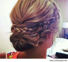 bridesmaid up do- braid, back bun with curled hair