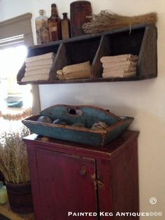 Great towel holder for a large primitive bathroom. Simple!                                                                                                                                                                                 More #PrimitiveDecor