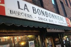 8. La Bonbonniere, 28 Eighth Avenue, 212-741-9266 One of the last bastions of affordability that remain in the once-groovy West Village (though breakfasts can still run $10+), La Bonbonniere looks like it's held together by the many post-its, stickers, signed celebrity photos, and various signage that adorns the walls and counter. A window seat here makes for prime people-watching, but we like to snag one of the six blue vinyl stools up front -- all the better for zoning out on fluffy banana…