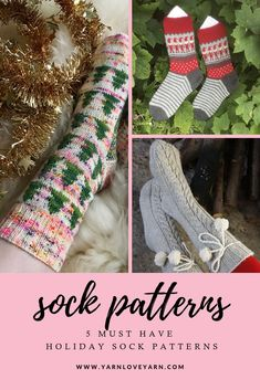 Festive Sock Pattern Roundup – 5 must knit patterns to make your holiday season festive! Baby Knitting Patterns, Crochet Socks Pattern, Christmas Knitting Patterns, Easy Crochet Patterns, Holiday Socks, Knitting Socks, Knit Socks, Free Knitting, Knitting Projects