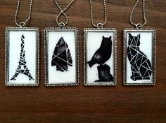 Buy Black and white original artwork pendant / black cat / owl / arrow head / Eiffel tower by prettyinc2. Explore more products on http://prettyinc2.etsy.com