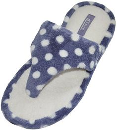 EZstep Women's Sophie Slippers Blue Polka Dot 8 US Gemelli