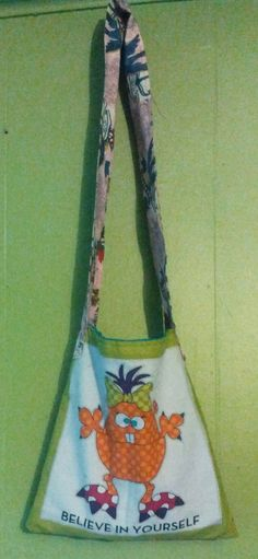 Believe in Yourself /Monster tote, childrens cross over tote or teen/adult shoulder bag small by  one of a kind larissamyrie.art washable, strong, upcycled, fun, #fashion #style #art #barbie #shoppingbag #totebag #shoulderbag #slowfashion
