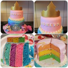 Disney Princess Palace Pets Cake I made for my daughter's Birthday. She wanted a rainbow cake with Palace Pets - featuring Cinderella & Sleeping Beauty. Cake was white with strawberry buttercream & I made Aurora's crown out of gumpaste that I airbrushed gold. She loved it! Facebook.com/CakesByChristi Smith