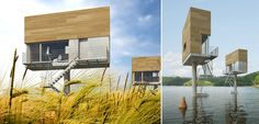 Designed by the polish firm front architects, the single house is a prototype house created for the single person. The design is inspired by freestanding billboards often seen near highways. this slim raised design makes them suitable for many locations where building may be difficult, including on the water. by using steel, concrete and wood, these homes become sleek and modern rather than cramped. #architecture