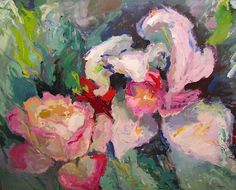 """""""White Iris & Pink Rose,"""" Acrylic on Canvas, 56 x 70 in."""