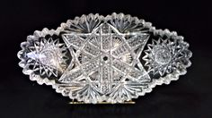 American Brilliant Period Cut Glass bowl ABP Hobstar Star of David ~ Oblong Celery / Relish Dish ~ Sawtooth Scalloped Edge ~ 1876-1916 by EclecticJewells on Etsy