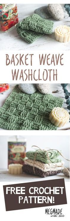 Free Crochet Pattern - Basketweave Stitch Washcloth