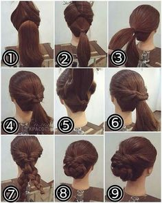 Messy updo divided into two parts