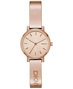 DKNY Women's Soho Rose Gold-Tone Stainless Steel Half-Bangle Bracelet Watch 24mm NY2308 - Watches - Jewelry & Watches - Macy's