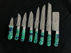 |NB KNIVES| CUSTOM HANDMADE DAMASCUS 8 PCS CHEF SET WITH LEATHER ROLL – NB Knives Damascus Sword, Damascus Ring, Damascus Steel Chef Knife, Damascus Chef Knives, Dagger Knife, Leather Roll, Magnetic Knife Strip, Folding Knives, Blade