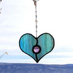 Stained Glass Heart Suncatcher  Light Blue by GreenhouseGlassworks, $22.00