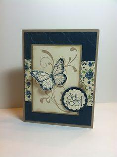 lovely card ... Everything Eleanor flourish BG, Butterfly diecut - Get Well Soon card