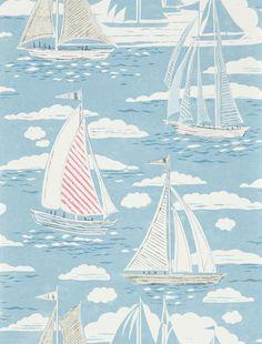 Sailor by Sanderson – Nautical – Wallpaper : Wallpaper Direct – Animal Planet Coastal Wallpaper, Boat Wallpaper, Nautical Wallpaper, Fabric Wallpaper, Anchor Wallpaper, Hallway Wallpaper, Bathroom Wallpaper, Nautical Art, Nautical Fashion