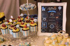 Chá do Matheus  Chá de Bebê Chá de Menino Cupcake Chalkboard