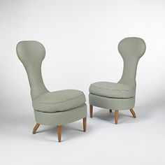 RENZO ZAVANELLA    lounge chairs from the Hotel San Remo, pair    Italy, c. 1950  upholstery, walnut  25 w x 31 d x 42 h inches