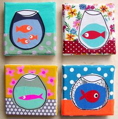 inspiration for Matisse pattern goldfish lesson. petits poissons en rond