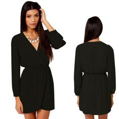 Womens-Dress-Sexy-V-neck-Long-Sleeve-Casual-Chiffon-Tops-Dress