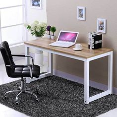 For those of you who are convinced that a small computer table is the right choi. For those of you who are convinced that a small computer table is the right choice, we have a few design options tha Study Table Designs, Office Table Design, Study Room Design, Study Room Decor, Design Bedroom, Home Design, Design Design, Design Ideas, Kids Study