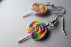 Rainbow Lollipop Earrings, Miniature Food Jewelry, Polymer Clay Food Earrings. $10,00, via Etsy.