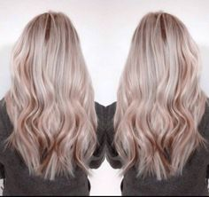 ash blonde hair with rose gold lowlights