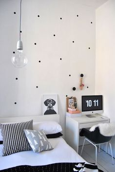 Polka dot decals! 170 for under $10. http://www.polkadotwallstickers.com/products/170-Half-Inch-Polka-Dot-Wall-Stickers.html