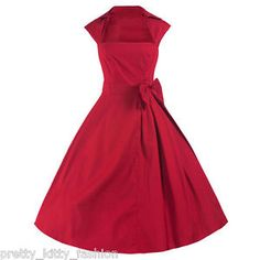 Robe-De-Soiree-Rouge-Evasee-Vintage-Style-Rockabilly-Annees-40-50-Taille-36-50