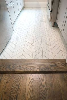 Don't' you love how perfectly paired these floorings are together? White porcelain chevron tile floor from custom wood flooring in dark walnut & Jacobean stain. - - - - Another Prewar, Jr 4 - E St, NYC Farmhouse Flooring, Kitchen Flooring, Kitchen Wood, Island Kitchen, Wood Flooring, Kitchen Sinks, Kitchen Cabinets, Kitchen Ideas, Kitchen Decor