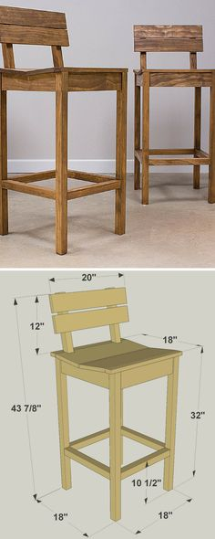 These tall pub chairs look great, whether you have them sitting at a counter or pair them with a pub table (which we'll show you in another project plan). Plus, the chairs are comfortable thanks to the shaped seat and angled back. Neither of these great features makes the chairs difficult to build. FREE PLANS at buildsomething.com #woodworking
