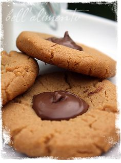 Gluten Free Peanut Butter & Nutella Thumbprint Cookies. Ide use home made nutella DF recipes