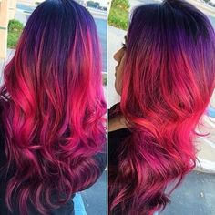 Purple red ombre hair color idea for dark hair girls to choose