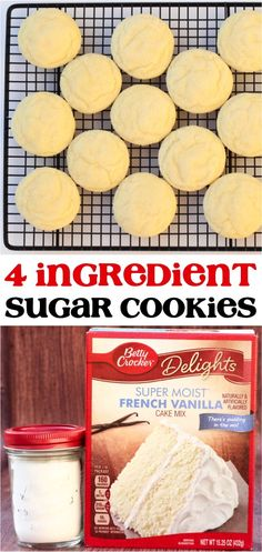 These 4 ingredient French Vanilla cookies ar… Soft Vanilla Sugar Cookies Recipe! These 4 ingredient French Vanilla cookies are such a delicious dessert for any occasion! French Vanilla Cake, Vanilla Cake Mixes, Vanilla Cookies, Vanilla Sugar, Vanilla Cookie Recipe, Cake Mix Cookie Recipes, Cake Mix Cookies, Cookies Et Biscuits, Cupcakes