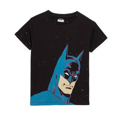 Little Eleven Paris Black Batman T Shirt: This classic fit T-Shirt has a Retro Batman placement print and is finished with a football shirt style print on the back.