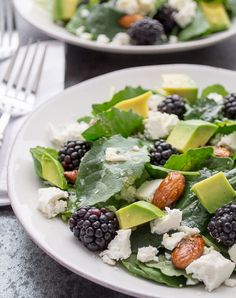 Baby Kale and Blackberry Salad with Ricotta Salata, Avocado and Rosemary Honeyed Almonds from Taste Love & Nourish {20 Main Dish Salads Perfect for Summer on OneCreativeMommy.com}