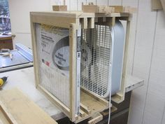 Hey guys, So I am between jobs right now so I thought I'd knock out some of those projects in the back of my head. One of those projects was a shop filter made from a box fan and plywood scraps. I saw a thread the other day about shop filter. Wood Shop Projects, Woodworking Projects Diy, Woodworking Shop, Garage Workbench Plans, Diy Workbench, Diy Paint Booth, Dust Collector Diy, Workshop Organization, Workshop Ideas