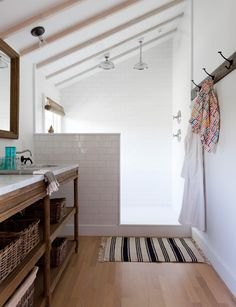 Great shower and wood floor. So simple and elegant.